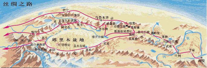 少莫绿洲丝绸之路,东起汉唐时的都城长安,经河西走廊到敦煌.图片